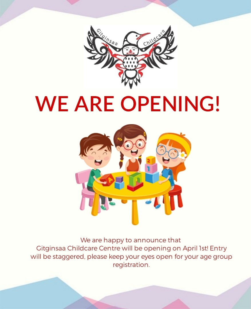 GITGINSAA CHILDCARE CENTER IS OPENING APRIL 1, 2021!!
